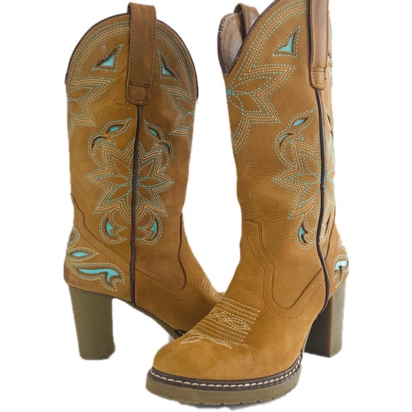 38487185bbd Roper Leather Cowboy heel boots Brown/Teal sz 5.5